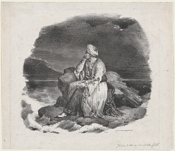 I Dream of Her in the Crashing Waves, Théodore Gericault (French, Rouen 1791–1824 Paris), Lithograph; first state of two