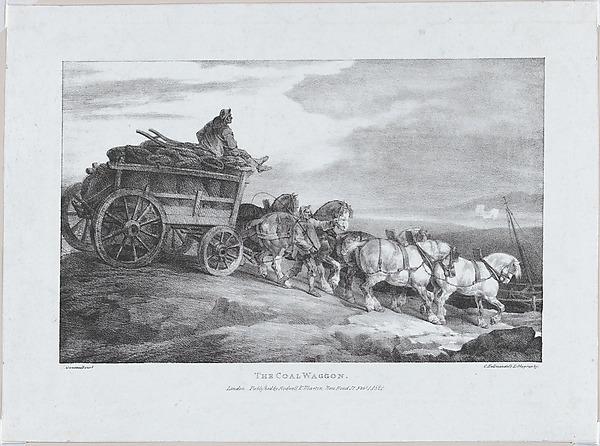 The Coal Waggon [sic.], Théodore Gericault (French, Rouen 1791–1824 Paris), Lithograph