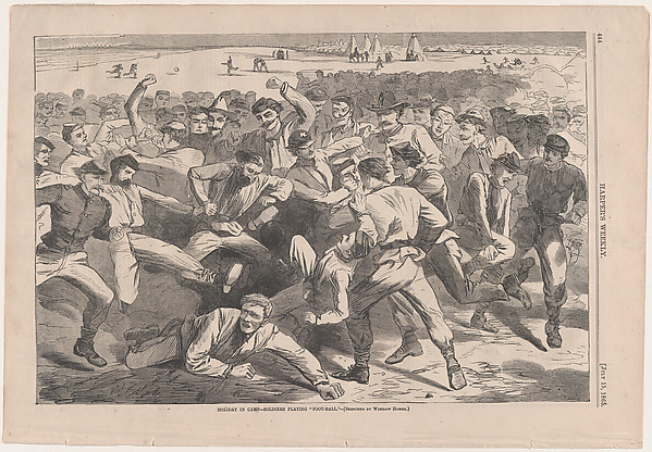 """Holiday in Camp – Soldiers Playing """"Foot-Ball"""" – Sketched by Winslow Homer (Harper's Weekly, Vol. IX), Winslow Homer (American, Boston, Massachusetts 1836–1910 Prouts Neck, Maine), Wood engraving"""