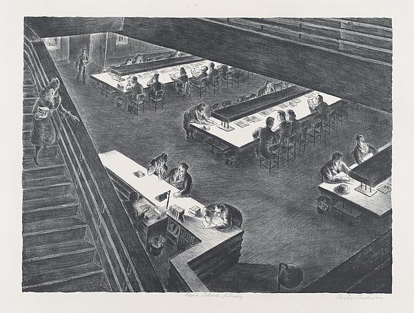 New School Library, Carlos Anderson (American, born 1905), Lithograph