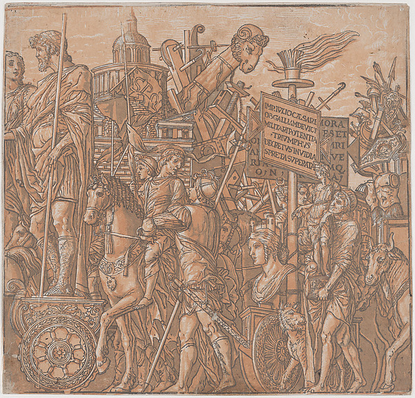 Sheet 2: A figure on a triumphal chariot surrounded by figures on horseback, from The Triumph of Julius Caesar, Andrea Andreani (Mantua, 1558/1559–1629), Chiaroscuro woodcut from four blocks printed in pink