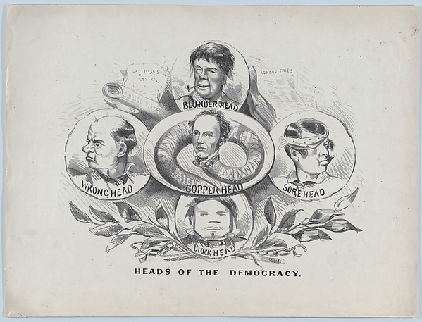 Heads of the Democracy, Attributed to Currier & Ives (American, active New York, 1857–1907), Lithograph