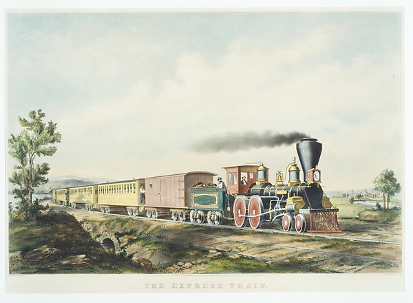 Express Train, Charles Parsons (American (born England), Hampshire 1821–1910 New York), Hand-colored lithograph
