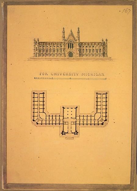 Design for University of Michigan (elevation and plan), Alexander Jackson Davis (American, New York 1803–1892 West Orange, New Jersey), Ink, watercolor and graphite
