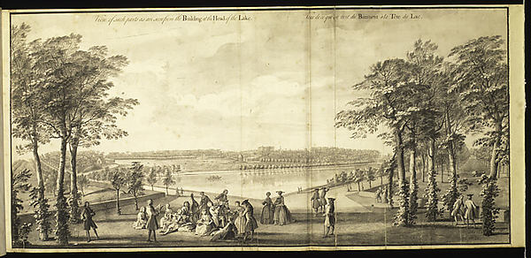 View of Such Parts as are Seen from the Building at the Head of the Lake at Stowe, Buckinghamshire, Jacques Rigaud (French, Marseilles 1681–1754 Paris), Ink and wash