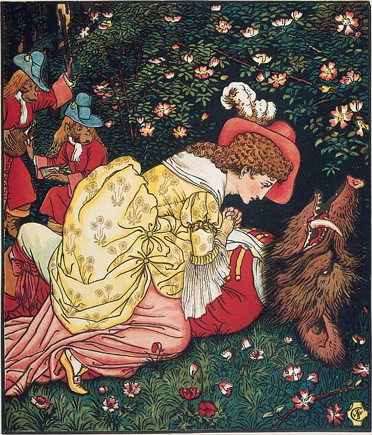 Beauty and the Beast, Walter Crane (British, Liverpool 1845–1915 Horsham), Illustrations: wood engraving, printed in colors