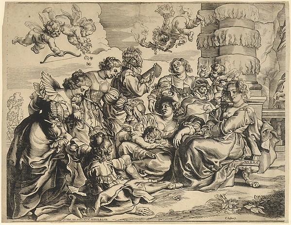 The Garden of Love (left block), Christoffel Jegher (Flemish, 1596–1652/53), Woodcut