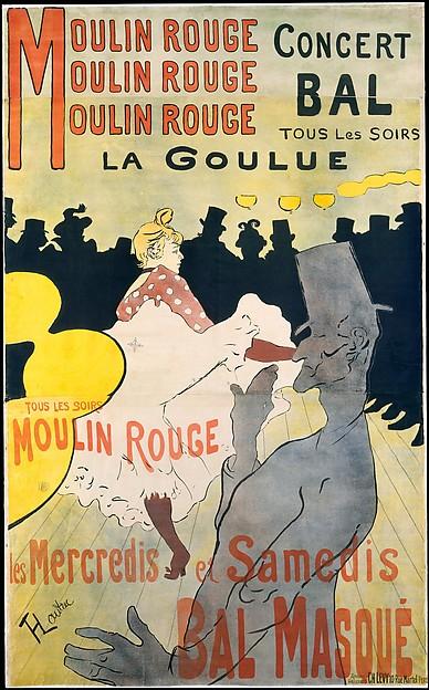 Moulin Rouge:  La Goulue, Henri de Toulouse-Lautrec (French, Albi 1864–1901 Saint-André-du-Bois), Lithograph printed in four colors.  Three sheets of wove paper.
