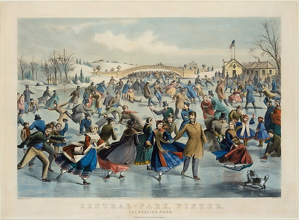 Central Park, Winter – The Skating Pond, After a painting by Charles Parsons (American (born England), Hampshire 1821–1910 New York), Hand-colored lithograph