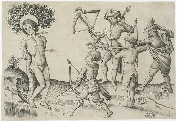 Saint Sebastian, attributed to Master of the Playing Cards (German, active ca. 1425–50), Engraving