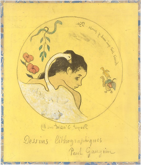 "(""Leda"") Design for a Plate: Shame on Those Who Evil Think (Honi Soit Qui Mal y Pense) ; cover illustration for the ""Volpini Suite"" entitled Lithographic Drawings (Dessins lithographiques), Paul Gauguin (French, Paris 1848–1903 Atuona, Hiva Oa, Marquesas Islands), Zincograph, colored by hand with watercolor and gouache on chrome yellow wove paper; mounted on marbled paper applied to millboard (cover of print portfolio, trimmed)"