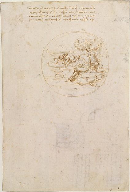 Allegory on the Fidelity of the Lizard (recto); Design for a Stage Setting (verso), Leonardo da Vinci (Italian, Vinci 1452–1519 Amboise), Pen and brown ink (recto and verso)