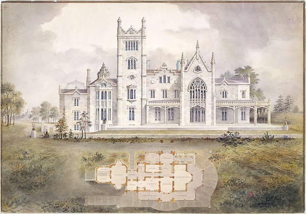 Lyndhurst for George Merritt, Tarrytown, New York (west [rear] elevation and plan), Alexander Jackson Davis (American, New York 1803–1892 West Orange, New Jersey), Watercolor, ink, and graphite on paper