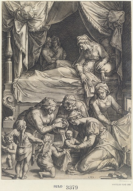 Birth of the Virgin (copy), Julius Goltzius (Netherlandish, died ca. 1595), Engraving; first state of two