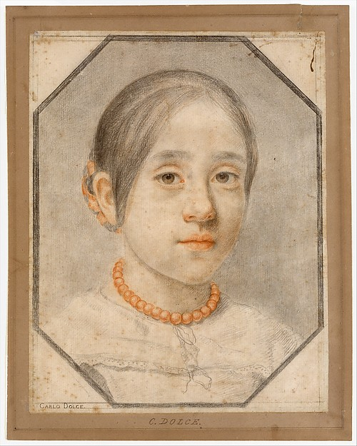 Portrait of the Artist's Daughter Agata Dolci, Carlo Dolci (Italian, Florence 1616–1687 Florence), Red and black chalk on pale gray paper
