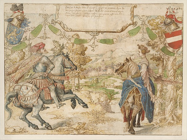 Otto, Count of Nassau and his Wife Adelheid van Vianen, Bernard van Orley (Netherlandish, Brussels ca. 1492–1541/42 Brussels), Pen and brown ink, watercolor over traces of black chalk; verso: tracing in black chalk of the figures on the recto