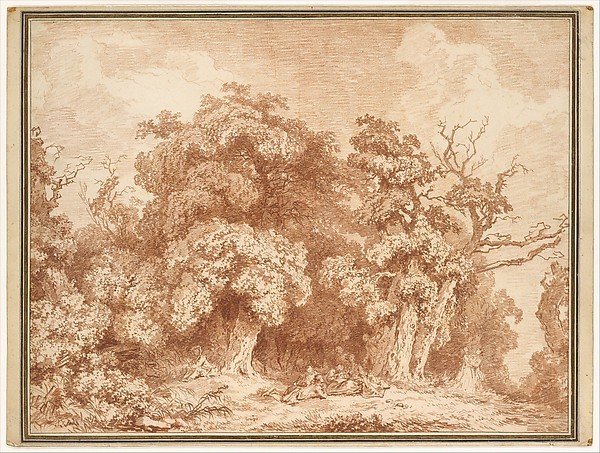 A Gathering at Wood's Edge, Jean Honoré Fragonard (French, Grasse 1732–1806 Paris), Red chalk