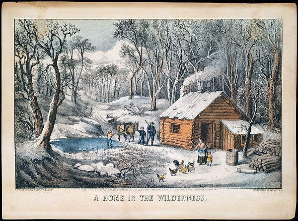 A Home in the Wilderness, Currier & Ives (American, active New York, 1857–1907), Colored lithograph