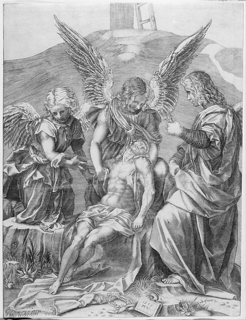 The Body of Christ Supported by Three Angels, Agostino Veneziano (Agostino dei Musi) (Italian, Venice ca. 1490–after 1536 Rome), Engraving