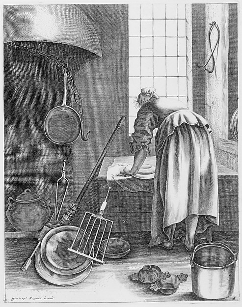 A Woman Cleaning, Plate 5 from Five Feminine Occupations, Geertruydt Roghman (Dutch, Amsterdam 1625–1651/57 Amsterdam (?)), Engraving
