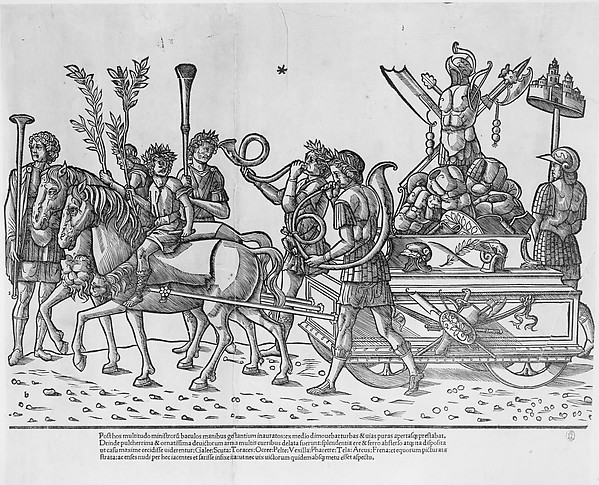 Chariot with trophies of war, from 'The Triumph of Caesar', Jacob of Strasbourg (Italian School, born Alsace, active Venice, 1494–1530), Woodcut