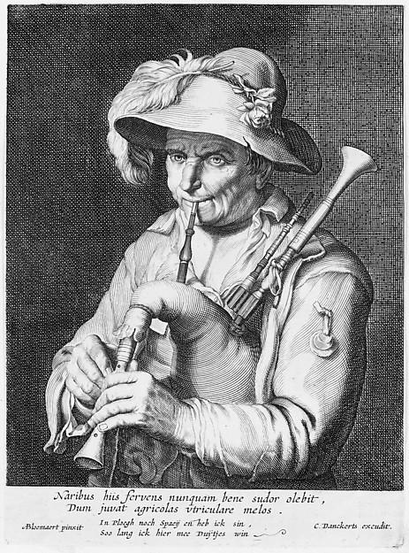 Man Playing Bagpipe, Cornelis Bloemaert (Dutch, Utrecht 1603–?1684 Rome), Etching and engraving