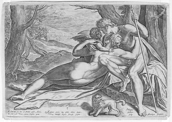 Venus and Adonis, from the series The Story of Adonis, Philips Galle (Netherlandish, Haarlem 1537–1612 Antwerp), Engraving; second state of two