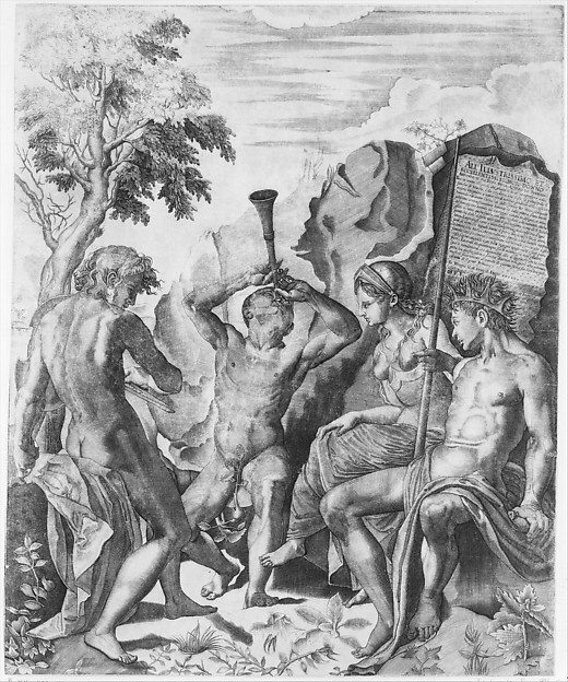 The Competition of Apollo and Marsyas and the Judgment of Midas, Giulio Sanuto (Italian, active 1540–88), Engraving (the right section of three-part image)