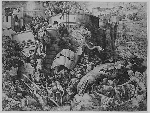 The Capture of Carthagena by Scipio and His Troops, Georg Pencz (German, Wroclaw ca. 1500–1550 Leipzig), Engraving; first state of seven (Hollstein)