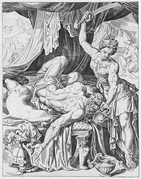 Judith Slaying Holofernes, from The Power of Women, plate 5, Dirk Volckertsz Coornhert (Netherlandish, Amsterdam 1519/22–1590 Gouda), Engraving