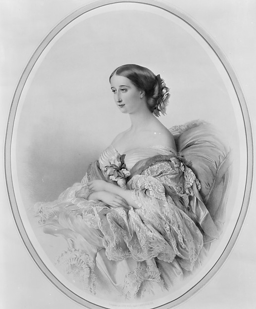 Portrait of the Empress Eugenie, after Winterhalter, Léon Alphonse Noël (French, 1807–1879), Lithograph, colored by hand