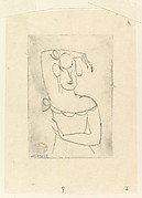Female Figure (Bust of Woman with Raised Arm), Elie Nadelman (American (born Poland), Warsaw 1882–1946 Riverdale, New York), Drypoint; first state of two