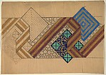 Frieze with Striped Ribbon Overlapping a Lozenge with a Cloverleaf Motif, Anonymous, French, 20th century, charcoal, gouache and gold paint