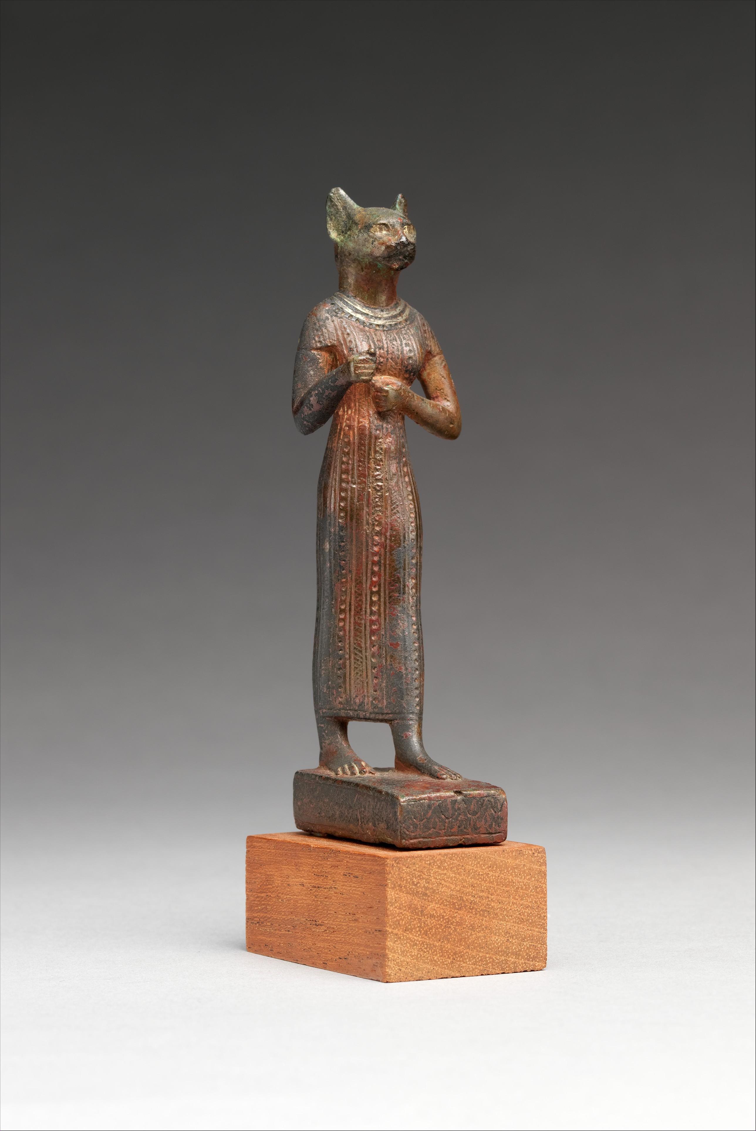 Bronze figure of the Egyptian cat goddess Bastet.