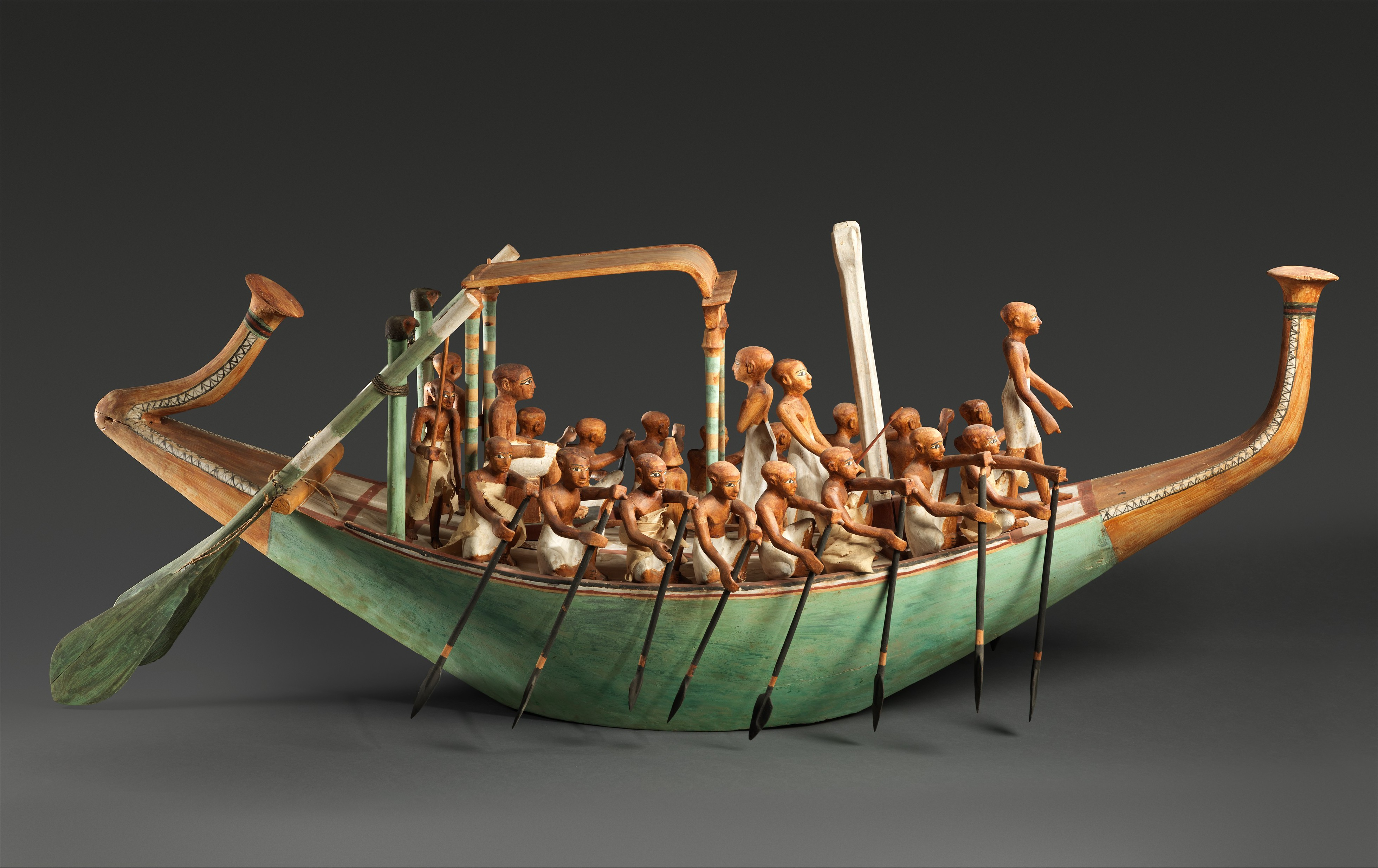 Model Paddling Boat, Wood, paint, plaster, linen twine, linen fabric