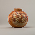 Spherical jar with four rows of painted decoration, Pottery, paint