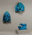 Theatrical Masks and Ram Vessel for Offering, faience
