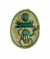 Scarab Inscribed with the Throne Name of Thutmose III, Steatite, glazed