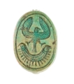 Scarab Inscribed with a Hieroglyphic Motif, Steatite (glazed)