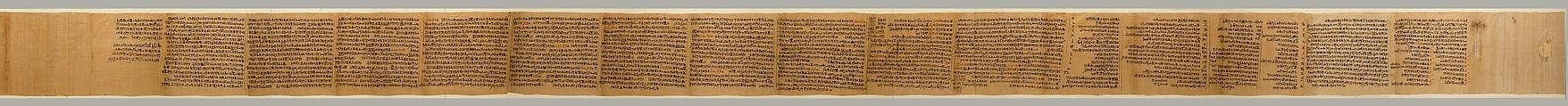 "Papyrus inscribed with six ""Osiris Liturgies"", Papyrus, ink"