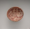 White cross-lined bowl with four legs, Pottery, paint