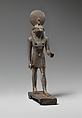 Statuette of Horus, lord of Sekhem (Letopolis), Bronze or copper alloy, gold (eyes)
