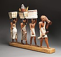 Model of a procession of offering bearers, Plastered and painted wood, linen