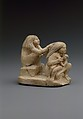 Group of two women and a child, Limestone, paint