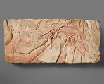 Akhenaten Sacrificing a Duck, Limestone, paint