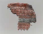 Fragment of a quiver (?), Leather (cattle hide), dye (red madder)