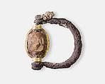 Scarab Ring of Neferkhawet, Silver, gold, glazed steatite