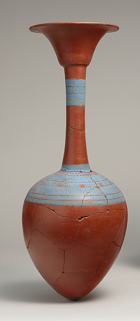 Water Bottle from Tutankhamun's Embalming Cache, Pottery, hematite wash, burnished, pigment