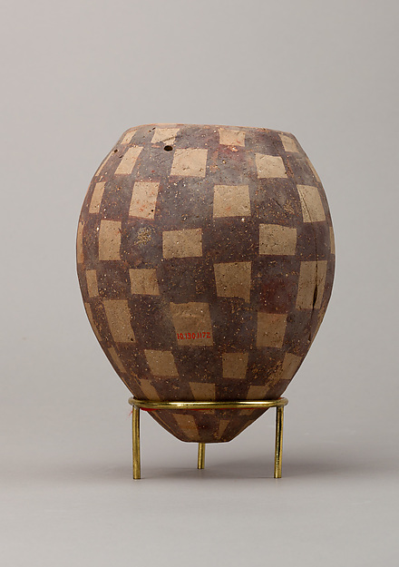 Jar decorated with checkerboard pattern, Pottery, paint
