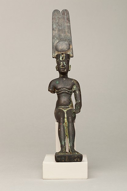 Child god wearing Amonian crown and named Horus of Mednit (Aphroditopolis), Cupreous metal